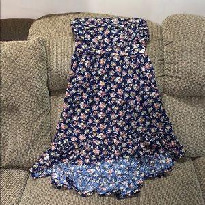 Sz med 7/9 jrs floral halter dress hi/o hem line